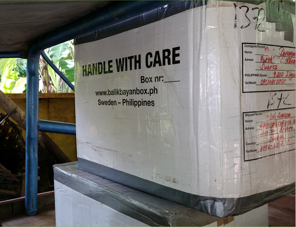 Balikbayan box on site in the Philippines